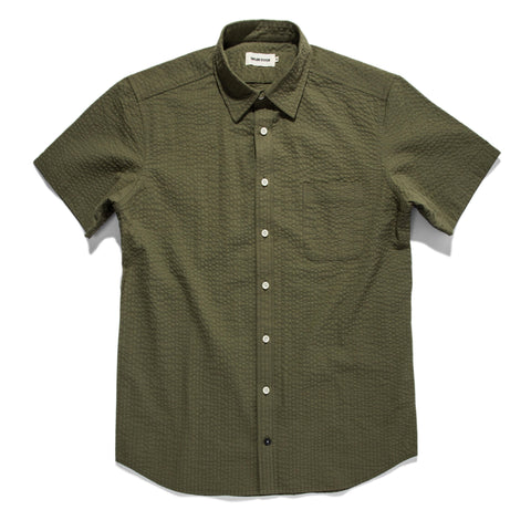 The Short Sleeve California in Army Seersucker - featured image