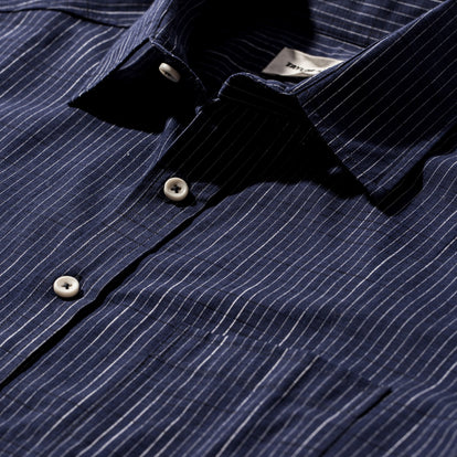 The Short Sleeve California in Navy Slub Stripe: Alternate Image 7