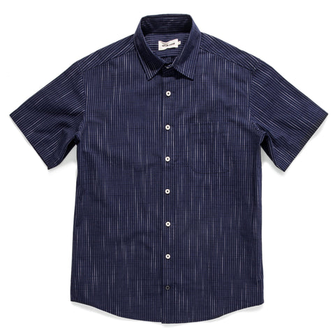 The Short Sleeve California in Navy Slub Stripe - featured image