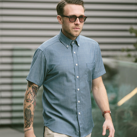 The Short Sleeve Jack in Blue Merino 4S Chambray - alternate view