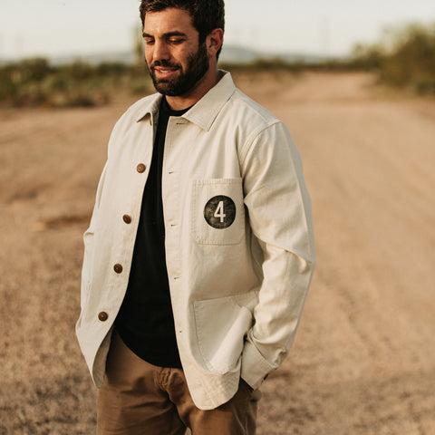 The Fourtillfour Ojai Jacket in Natural Reverse Sateen - alternate view