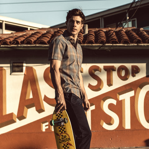 The Short Sleeve California in Melange Plaid - alternate view
