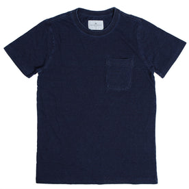 The Crewneck Pocket Tee in Sea Washed Indigo: Featured Image