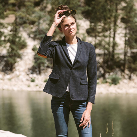 The Telegraph Blazer in Navy Donegal - alternate view