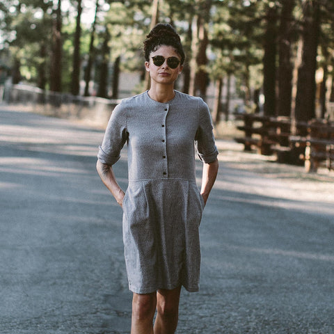 The Juniper Dress in Charcoal Brushed Melange - alternate view