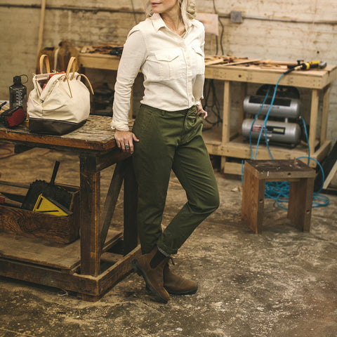 The Abel Pant in Army Green - alternate view