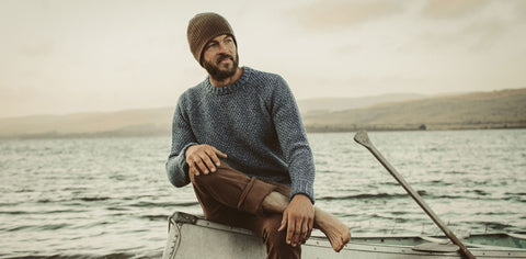 The Fisherman Sweater in Navy Melange