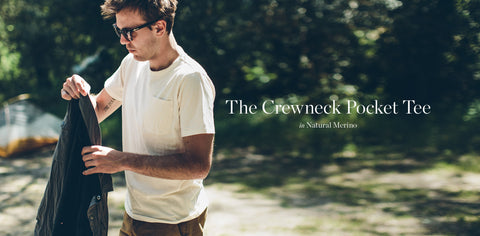 The Crewneck Pocket Tee in Natural Merino