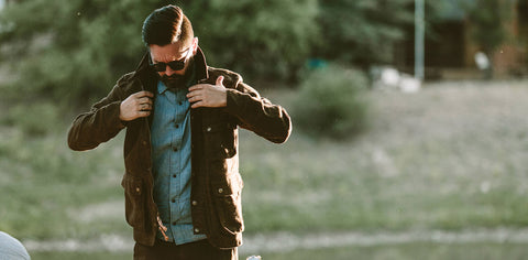 The Rover Jacket in Oak Herringbone Waxed Wool
