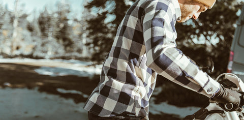 The Moto Utility Shirt in Natural & Navy Buffalo Plaid