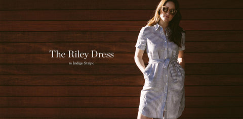 The Riley Dress in Indigo Stripe