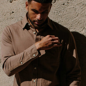 our fit model wearing The California in Khaki Herringbone