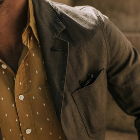 our fit model wearing The Gibson Jacket in Gravel—cropped shot of lapel