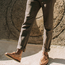 our fit model wearing The Gibson Trouser in Gravel