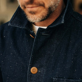 our fit model rocking The Ojai Jacket in Indigo Herringbone—cropped shot of collar and texture