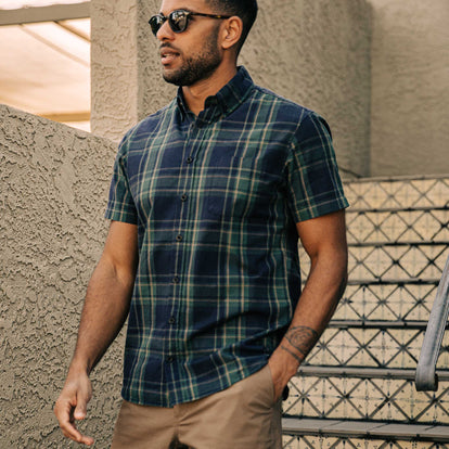 our fit model wearing The Short Sleeve Jack in Green Madras