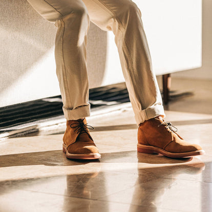 our fit model wearing The Unlined Chukka in Butterscotch Weatherproof Suede