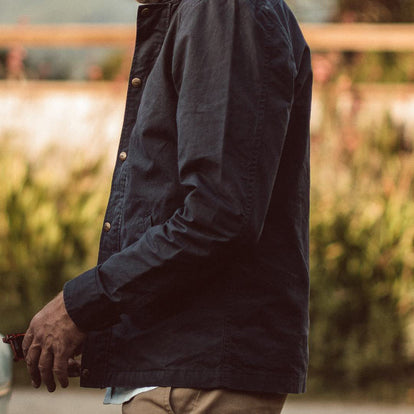 our fit model wearing The Bomber Jacket in Navy Dry Wax