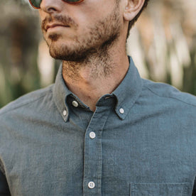 Our fit model wearing The Jack in Dusty Blue Hemp from Taylor Stitch.