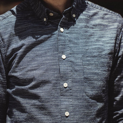 Our fit model wearing The Jack in Navy Slub Check from Taylor Stitch.