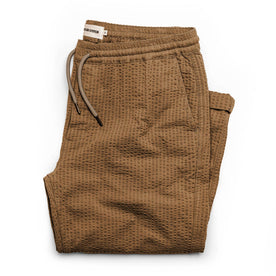 The Après Pant in British Khaki Seersucker - featured image