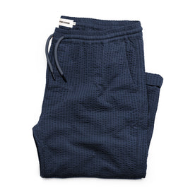 The Après Pant in Navy Seersucker: Featured Image