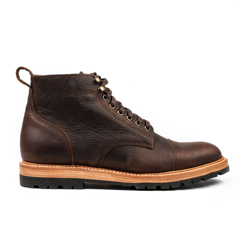 The Moto Boot in Chocolate Pebble Grain - featured image