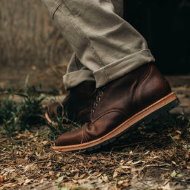 our fit model wearing The Moto Boot in Chocolate Pebble Grain