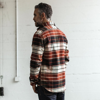 Our fit model wearing The Crater Shirt in Rust Plaid