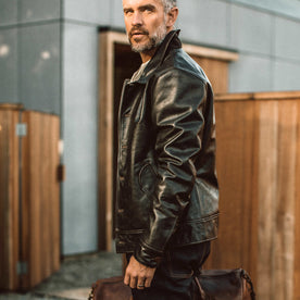 our fit model wearing The Cuyama Jacket in Cola Leather