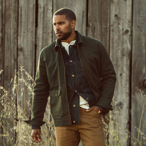 The Mechanic Jacket in Dark Olive Boss Duck - alternate view