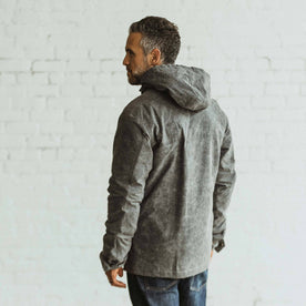 our fit model wearing The Winslow Parka in Slate Wax Canvas
