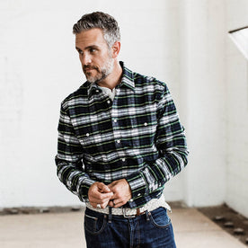 our fit model wearing The Yosemite Shirt in Blue Tartan