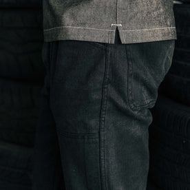 our fit model wearing The Chore Pant in Coal Boss Duck