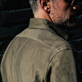 our fit model wearing The Mechanic Shirt in Olive Reverse Sateen