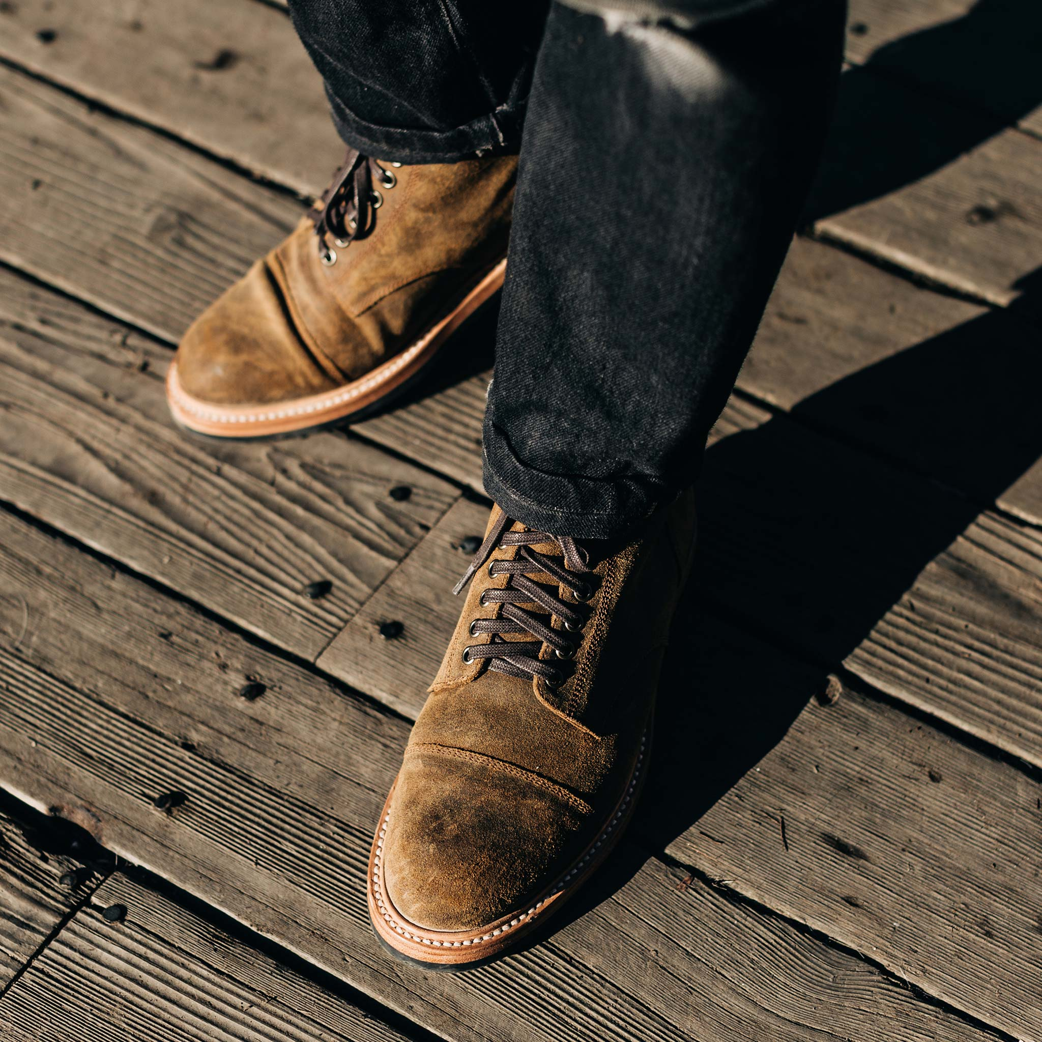 The Moto Boot in Golden Brown Waxed Suede   Taylor Stitch…