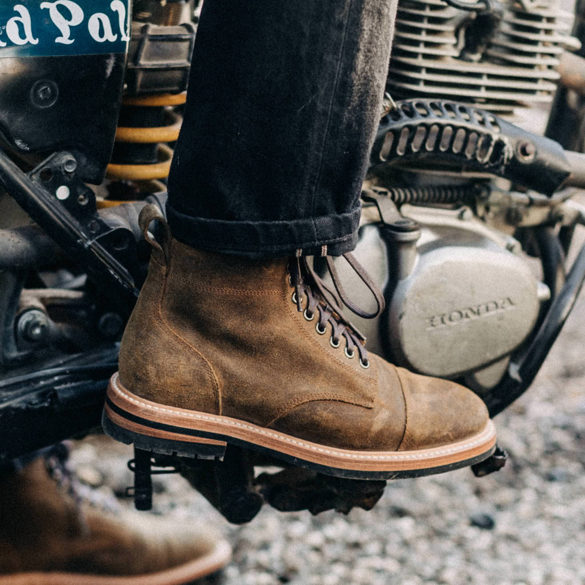The Moto Boot in Golden Brown Waxed