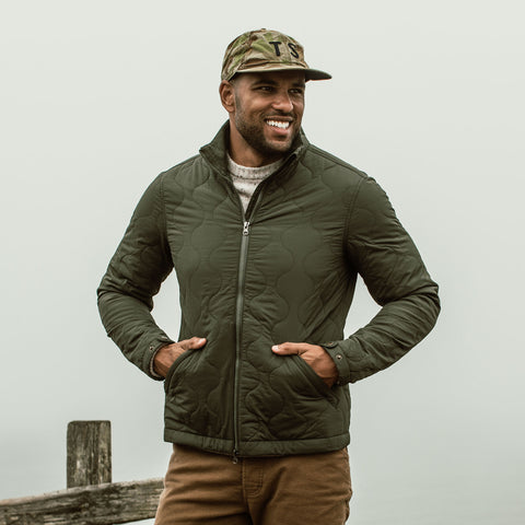 The Vertical Jacket in Olive - alternate view