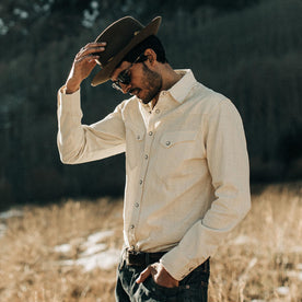 The Western Shirt in Natural Corded Denim - featured image