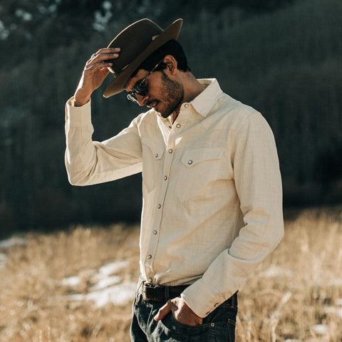 The Western Shirt in Natural Corded Denim - alternate view