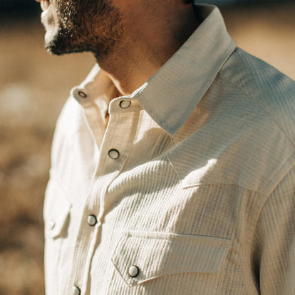 our fit model wearing The Western Shirt in Natural Corded Denim