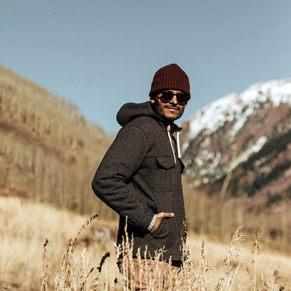 our fit model wearing The Winslow Parka in Wool Beach Cloth