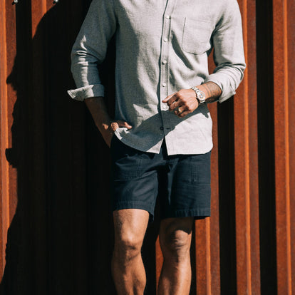 our fit model wearing The Trail Short in Navy Slub Sateen