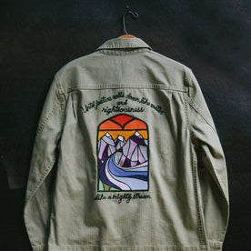 hanger material shot of The HBT Jacket by Psychic Stitch