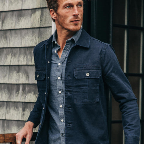 The HBT Jacket in Washed Navy - alternate view