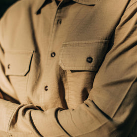 our fit model wearing The Corso in Khaki Double Cloth—cropped shot of chest