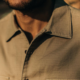 our fit model wearing The Corso in Khaki Double Cloth—cropped shot of collar