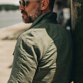 fit model wearing The Lombardi Jacket in Olive Dry Wax,back