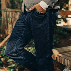 The Camp Pant in Indigo Corduroy—walking left of screen