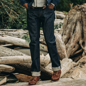 fit model wearing The Democratic Jean in Cone Mills Reserve Selvage, waist down shot